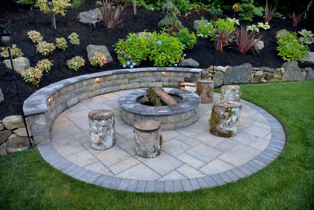 Image of a Welches fire pit design and build project by Drake's 7 Dees