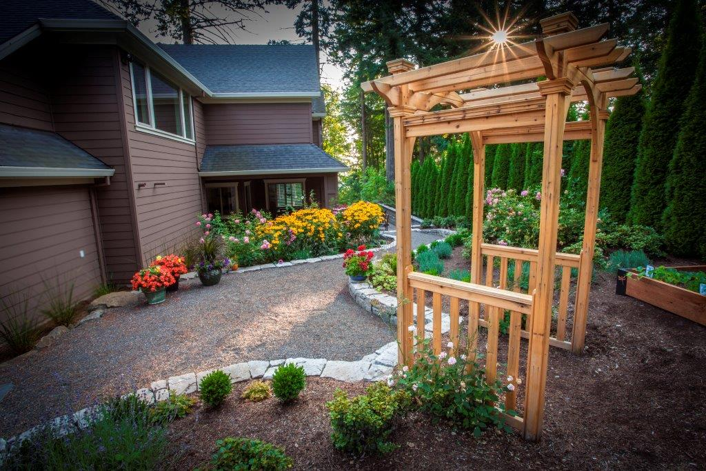 Image of a West Linn backyard garden design and installation project by Drake's 7 Dees
